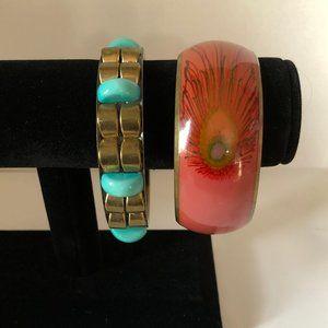 Burnish Gold Peacock Boho Bangle Bracelet Set